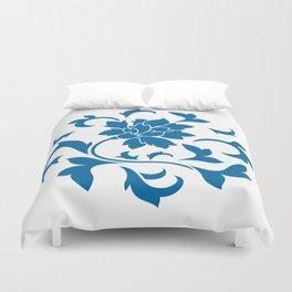 Oriental Flower - Snorkel Blue Circular Pattern On White Background Duvet Cover