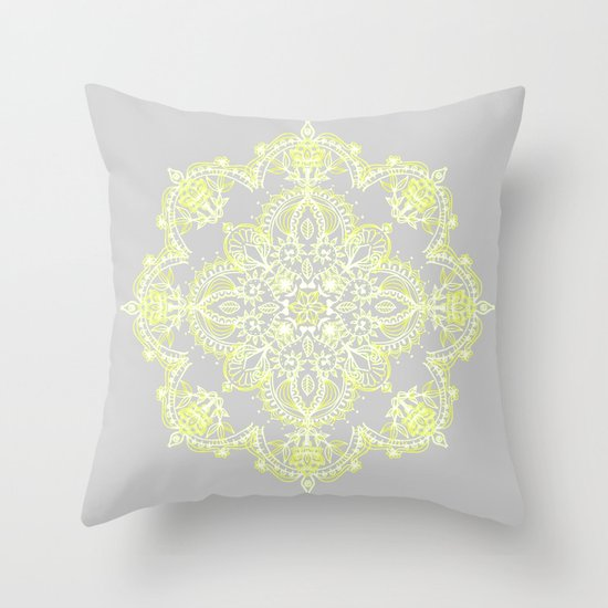 Pale Yellow Decorative Pillows : Pale Lemon Yellow Lace Mandala on Grey Throw Pillow by Micklyn Society6