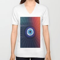 evil eye V-neck T-shirts featuring Evil Eye by DuckyB