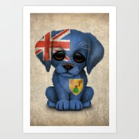 Cute Puppy Dog with flag of Turks and Caicos Art Print