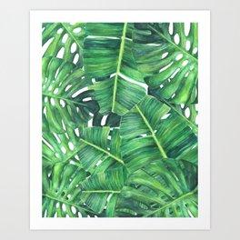Tropical palm leaves Art Print