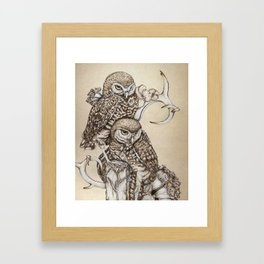 Duality - Two Burrowing Owls Framed Art Print
