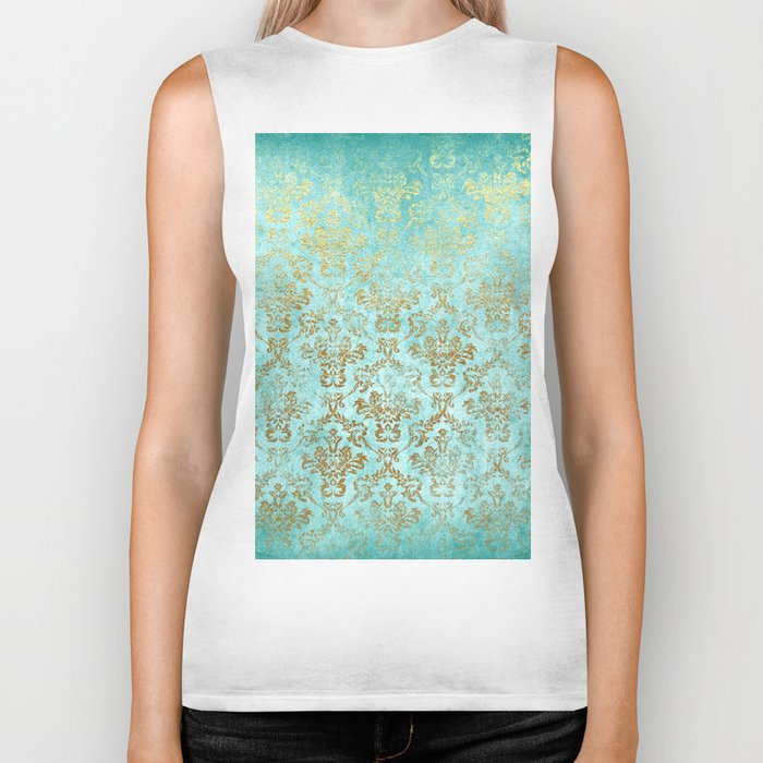 Mermaid Gold Aqua Seafoam Damask Biker Tank