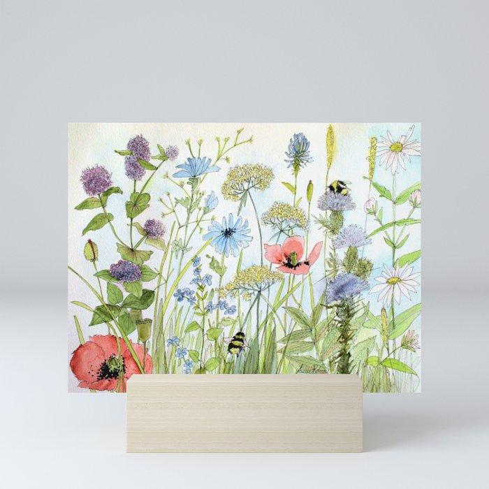 Floral Watercolor Botanical Cottage Garden Flowers Bees Nature Art Mini Art Print