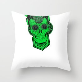 Bursting Geo Skull Throw Pillow