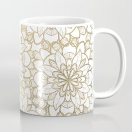 Elegant Hand Drawn Faux Gold White Floral Illustration Coffee Mug