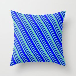 Aquamarine and Blue Colored Lines/Stripes Pattern Throw Pillow