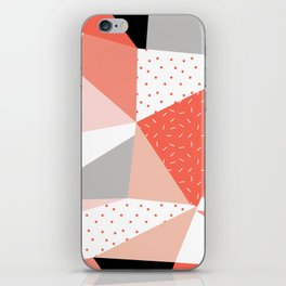 Just Peachy Stripes: Retro 80s Triangle Pattern And Neon Pop Art 1980s Style iPhone Skin