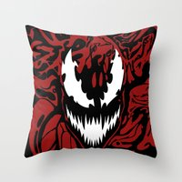 carnage Throw Pillows featuring carnage by Rebecca McGoran