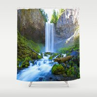 waterfall Shower Curtains featuring Waterfall by 2sweet4words Designs