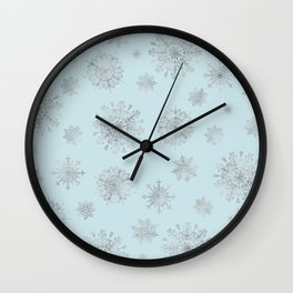Assorted Silver Snowflakes On Light Blue Background Wall Clock