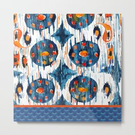 BLUE CIRCLES IKAT Metal Print