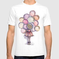 Float Away // Fashion Illustration White Mens Fitted Tee MEDIUM
