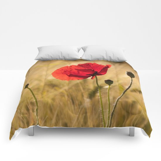 Poppies in a summerfield - Flowers Floral on #Society6 Comforters