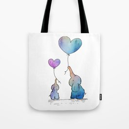 Colorful Watercolor Elephants Love Tote Bag