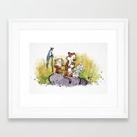 hobbes Framed Art Prints featuring Calvin n hobbes by TEUFEL_STRITT666