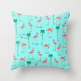 Christmas Flamingo Pattern Throw Pillow