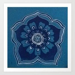 Lino Print flower  Art Print