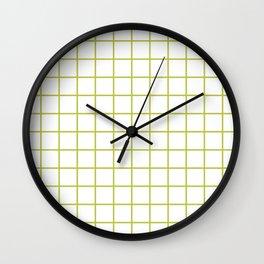 Grid Pattern Chartreuse Wall Clock