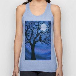 Meowing at the moon - moonlight cat painting Unisex Tank Top