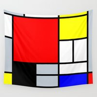 mondrian Wall Tapestries featuring Mondrian by Dizzy Moments