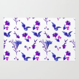 Abstract pink violet purple watercolor hand painted floral Rug