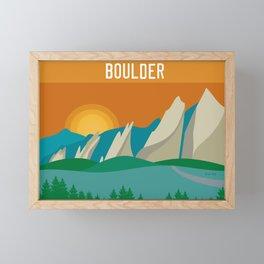 Boulder, Colorado - Skyline Illustration by Loose Petals Framed Mini Art Print