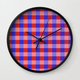 Red Blue and Pink Pretty Check Pattern Wall Clock