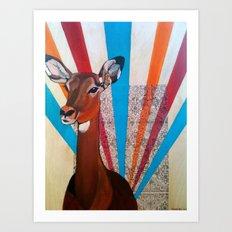 Deer on Headlights Art Print