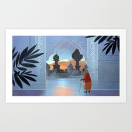 Old Man and the Sunset Art Print