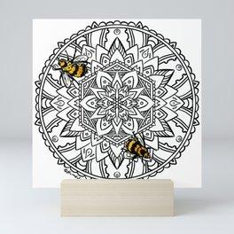 Bee Dance Mandala C - Black Mini Art Print