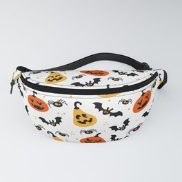 Happy Halloween pumkins, bats and spiders Fanny Pack