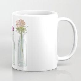 Flowers in Glass Bottles . Pastel Floralprint Botanica Poster Prints Coffee Mug