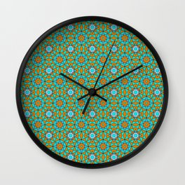 Moroccan Tile 1A - Blue Wall Clock