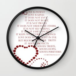 Love is patient love is kind 1 Corinthians 13: 4-7 Wall Clock