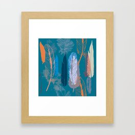 Feather Pattern in Blue Framed Art Print