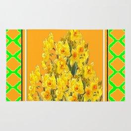 SPRING GREEN YELLOW DAFFODIL GARDEN ART PATTERN Rug