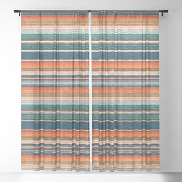 serape southwest stripe - orange & dark teal Sheer Curtain