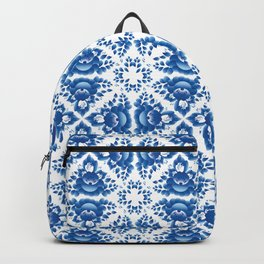 Vintage shabby Chic Seamless pattern with blue flowers and leaves Backpack