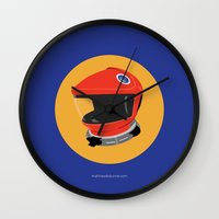2001 a space odyssey Wall Clocks featuring Dave's Helmet - 2001: A Space Odyssey by Matt Dunne