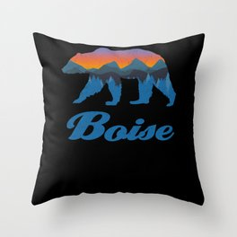 Vintage Boise Bear Sunset Mountain Tree Silouhette Throw Pillow