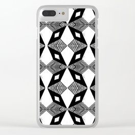 Linocut printmaking pattern black and white scandinavian scandi hipster cute geometric art Clear iPhone Case