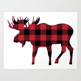 Moose Silhouette in Buffalo Plaid Art Print