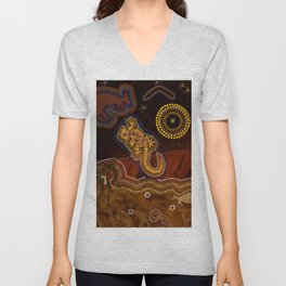 Desert Heat - Australian Aboriginal Art Theme Unisex V-Neck