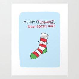Merry New Socks Day! Art Print