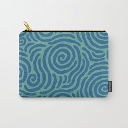 Ripple Effect Pattern Blue and Green Carry-All Pouch