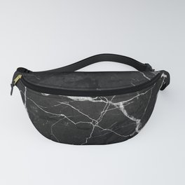 Black Suede Marble With White Lightning Veins Fanny Pack