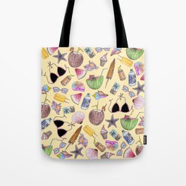 Summer Cute Girly Beach Collage on Yellow Tote Bag