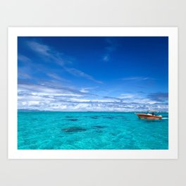 South Pacific Crystal Ocean Dreamscape with Boat Art Print