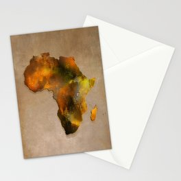Africa map brown Stationery Cards